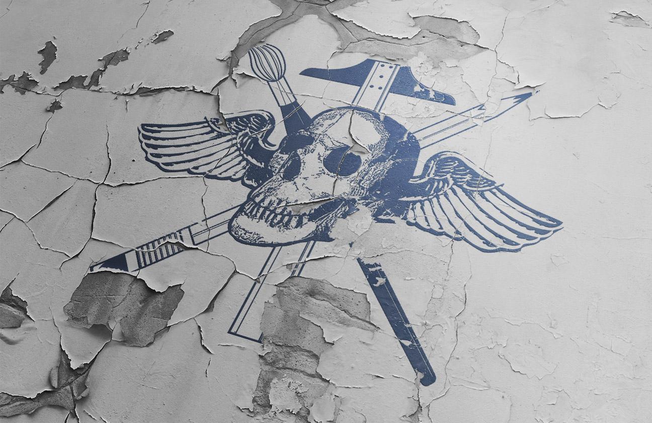 skull logo peeling paint